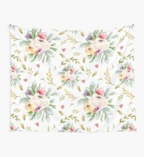 Peony Bunch White Wallpaper Wall Tapestry
