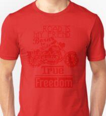 True Freedom - Road is my friend Motorbike - Red T-Shirt