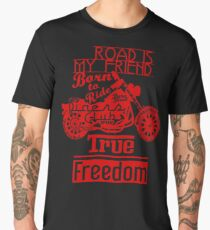 True Freedom - Road is my friend Motorbike - Red Men's Premium T-Shirt