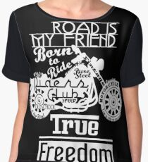 True Freedom, Road is my friend Motorbike - white on black Women's Chiffon Top