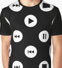 Big Music Player Icons Polka Dots (White on Black) Graphic T-Shirt