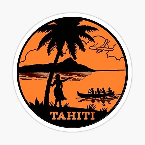 TAHITI VINTAGE VOYAGE CANOE MER Sticker