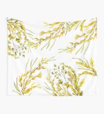 Large Yellow Wildflower Branches White Wallpaper Wall Tapestry