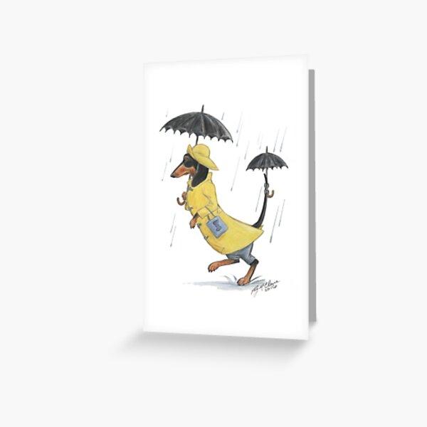 Rainy Day Dachshund Greeting Card