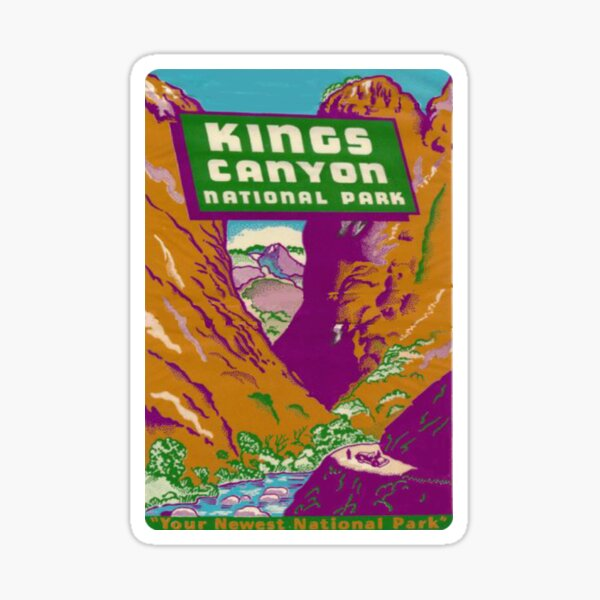 Vintage Kings Canyon National Park California Travel Decal Sticker