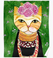 Frida Catlo in Orange Poster