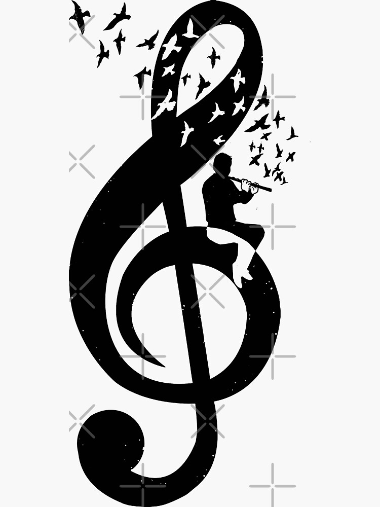Treble Clef Flute - Music Theme Design Suitable for Men and Women by barmalisiRTB
