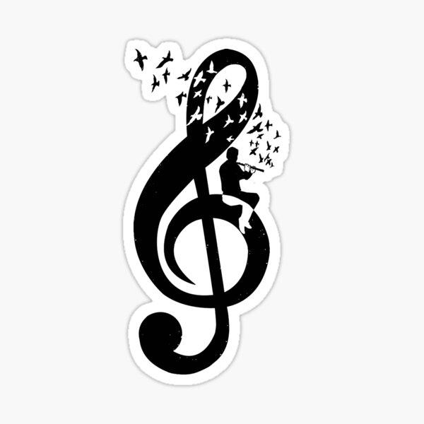Treble Clef Flute - Music Theme Design Suitable for Men and Women Sticker