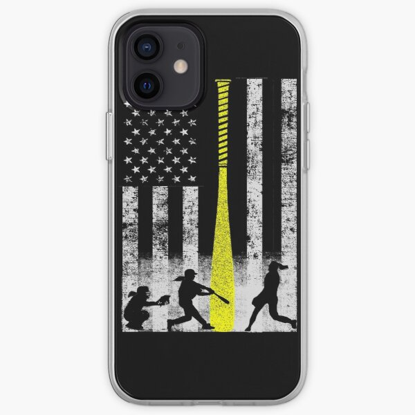 Softball Flag With Softball Players and Yellow Bat iPhone Soft Case