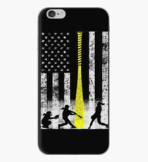 Softball Flag With Softball Players and Yellow Bat iPhone Case
