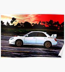 Subaru STi Racing at Sunset Poster