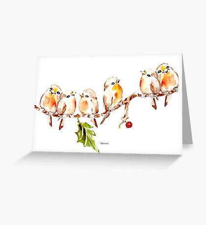 Six Little Birds Greeting Card