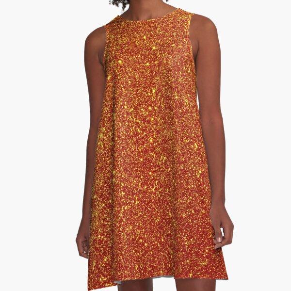 Halloween Shiny Pumpkin Orange Glitter A-Line Dress
