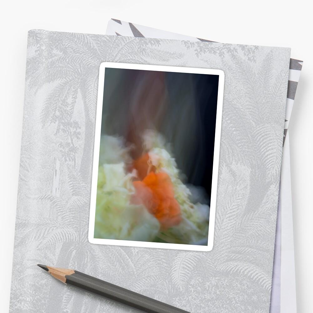 Fleur Blur-Abstract Orange Rose & White Flowers Sticker