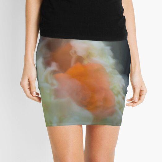 Fleur Blur-Abstract Orange Rose & White Flowers Mini Skirt