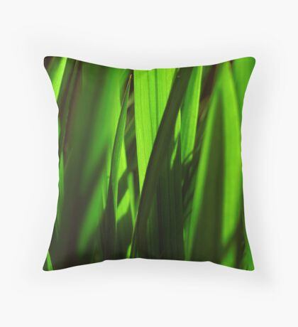 exotic grasses - green Throw Pillow