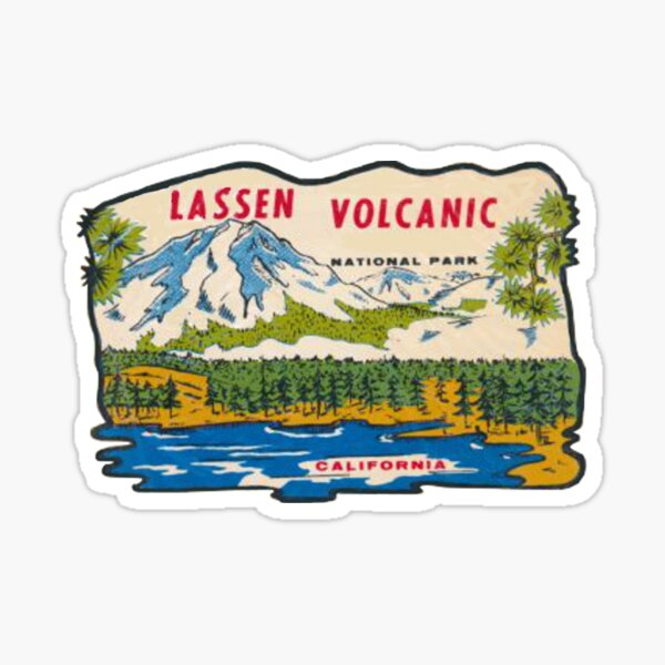 Retro Lassen Volcanic National Park California Vintage Travel Decal Sticker
