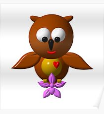 Cute owl with orchid Poster