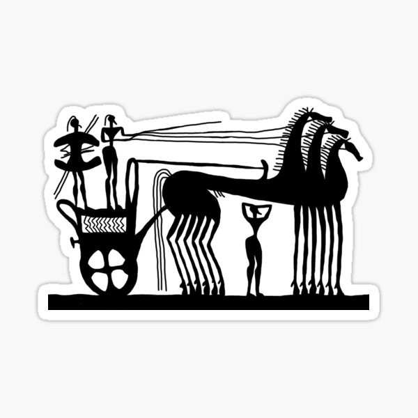 Ancient Greek Chariot in black Sticker