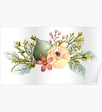 Fig Peony Leaves Bunch Poster