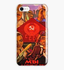 Soviet propaganda poster, science, worker, farmer together! iPhone Case/Skin
