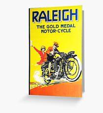 Raleigh Motorcycle, advertisement vintage poster Greeting Card