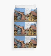 Colorful Half-Timbered Buildings Duvet Cover