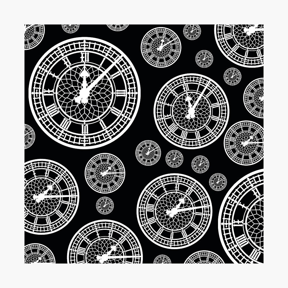 Black and White Vintage Clock Pattern Photographic Print
