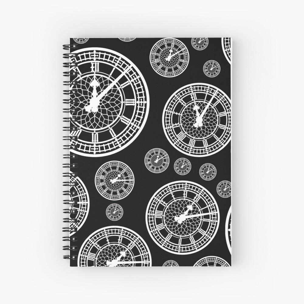 Black and White Vintage Clock Pattern Spiral Notebook