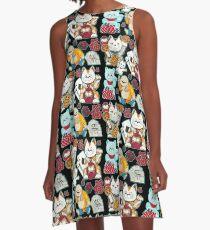 Super Lucky Pattern in Black  A-Line Dress