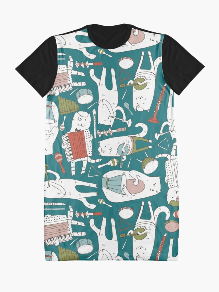 Alternate view of Cats band in blue(s) Graphic T-Shirt Dress