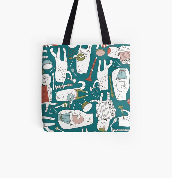 Cats band in blue(s) All Over Print Tote Bag