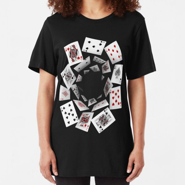 Falling Cards Slim Fit T-Shirt