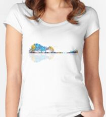 Nature Guitar - Colorful Watercolor  Women's Fitted Scoop T-Shirt