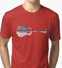 Nature Guitar - Colorful Watercolor  Tri-blend T-Shirt