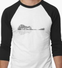 Nature Guitar - Black & White Watercolor  Men's Baseball ¾ T-Shirt
