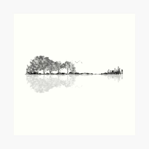 Nature Guitar - Black & White Watercolor  Art Print