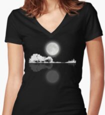 Nature Guitar Night Women's Fitted V-Neck T-Shirt