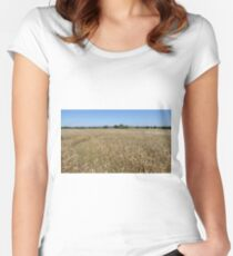 Sunny Golden Ripe Wheat Field Women's Fitted Scoop T-Shirt