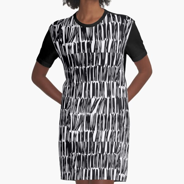 Abstract Black and White Stripe Graphic T-Shirt Dress