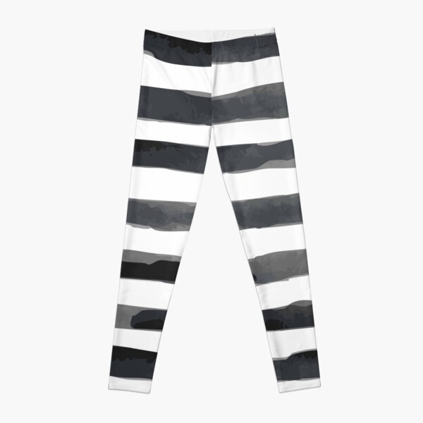 Abstract Black and White Stripe Leggings