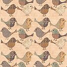 Nostalgic Autumn Patchwork Bird Pattern in warm retro color palette  by artsandsoul