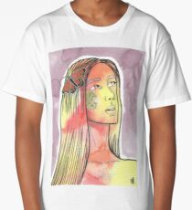mixed media nature girl  Long T-Shirt