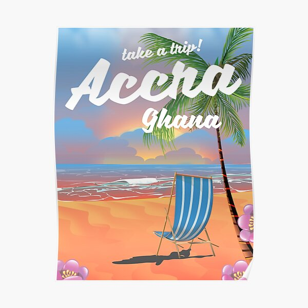 Accra Ghana beach travel poster Poster