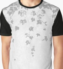 Silver Gray Trailing Ivy Leaf Print Graphic T-Shirt