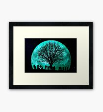 Community and giant moon Framed Print