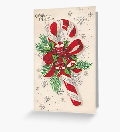 A Vintage Merry Christmas Candy Cane Greeting Card