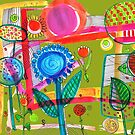 'flowery abstract', colorful, happy drawing with inkbrush and pen by mariska eyck