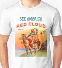 See America, Indian chief, Red Cloud, travel poster T-Shirt