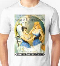 Two women in bedroom together with electric corset T-Shirt